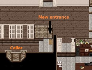 New entrance & Cellar stairs