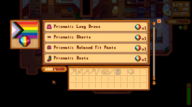 An optional shop offers specific prismatic clothing for purchase.