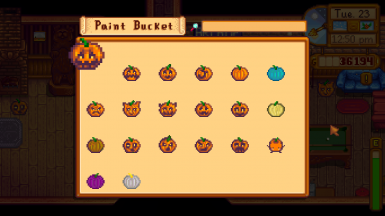 Use the paint bucket to choose a specific style for each pumpkin