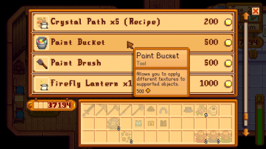 When you install Alternative Textures, the paint bucket and paint brush are available at Robin's shop.