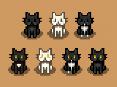 Black-White-Tuxedo Cat Recolors