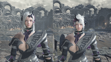 BDO -Dark Knight- Sin Terrna armor set and face with weapons -replaces Yuria