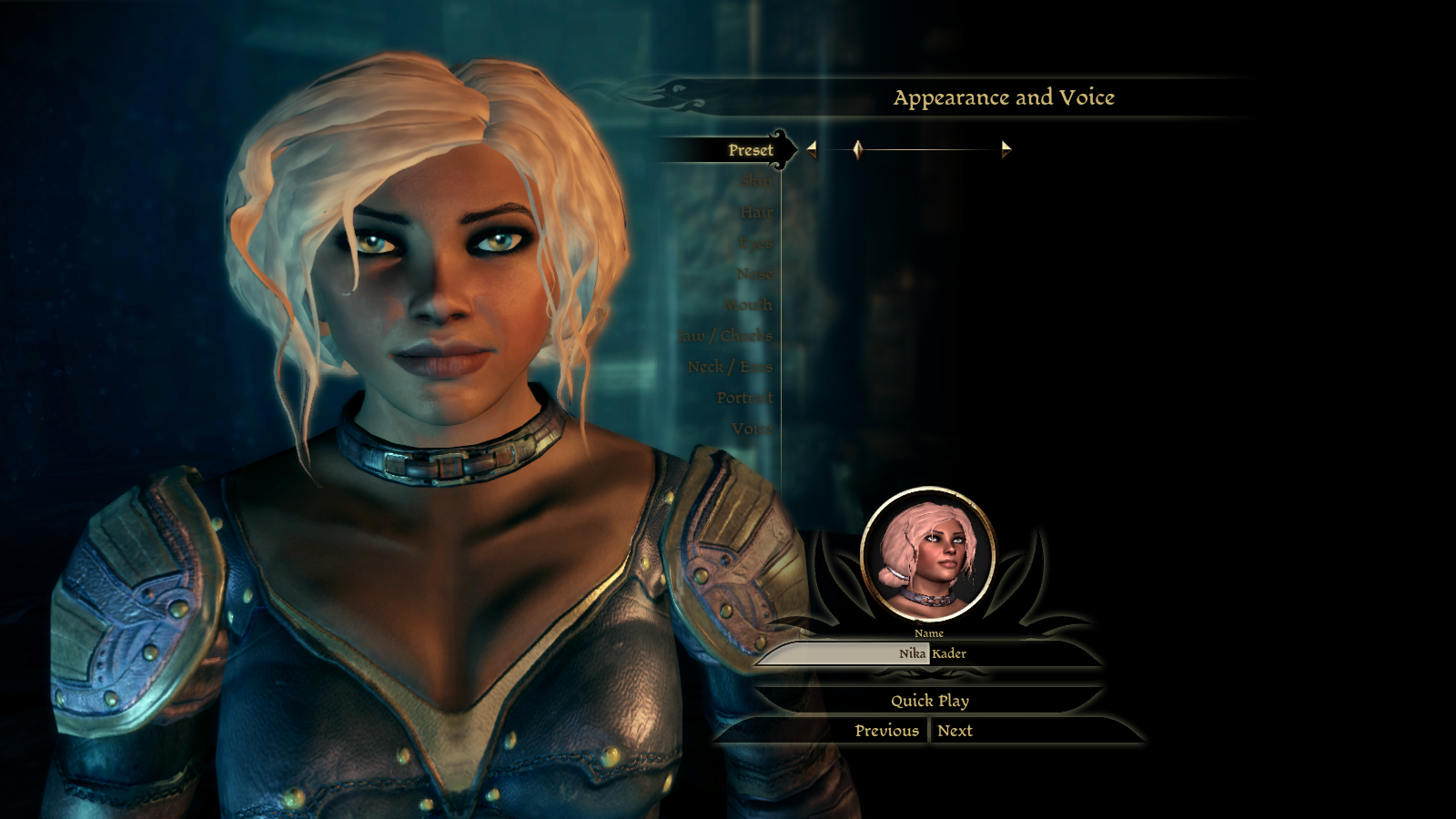how to make presets dragon age