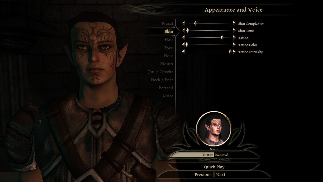 Dalish elf concept tattoo and headmorph at dragon age mods and