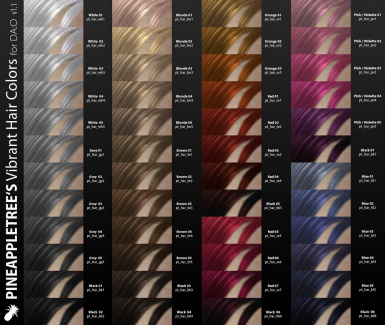 Preview of all new hair colors