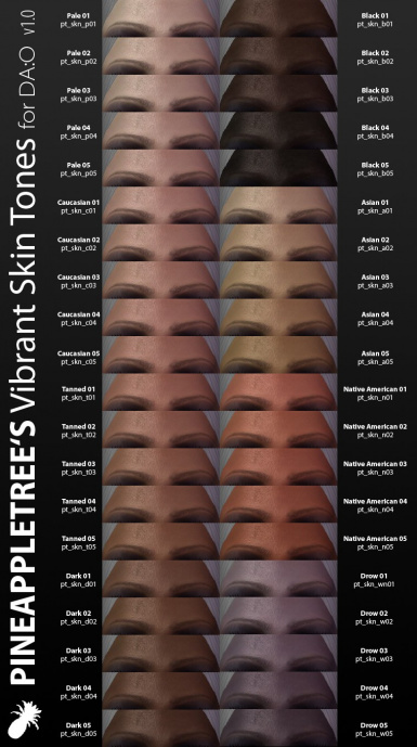 Preview of all new skin tones