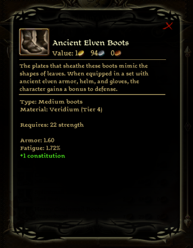Ancient Elven Boots Codex Entry