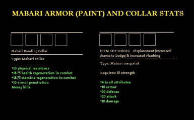 ARMOR AND COLLAR STATS