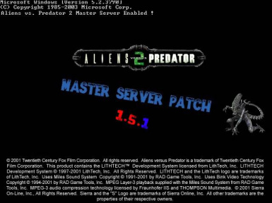 Aliens vs. Predator 2 Master Server Patch (1.5.1)