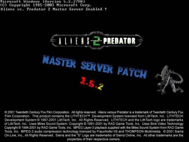 Aliens vs. Predator 2 Master Server Patch (1.5.2)