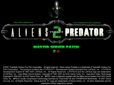 Aliens vs. Predator 2 - Master Server Patch (2.4)