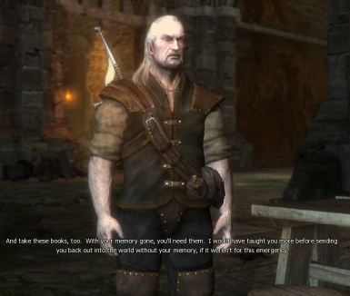 Vesemir gives Geralt the books