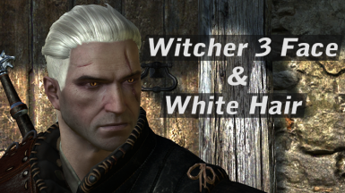 Geralt's face from Witcher 3 and white hair