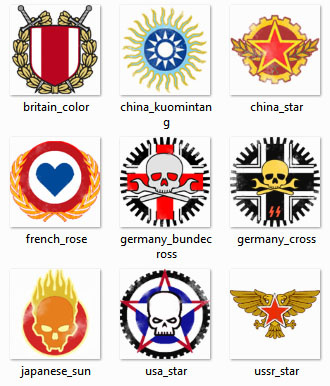 WOT vehicles decals nations