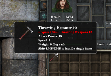 Throwing hammer stats