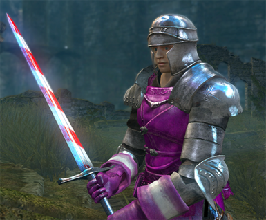 Candy Cane Longsword - Pink Hard Leather Armour