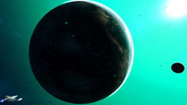 This picture shows the blackened backside in an otherwise vanilla Space Sky