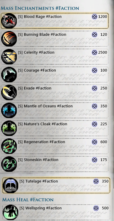 Mass Faction Spells