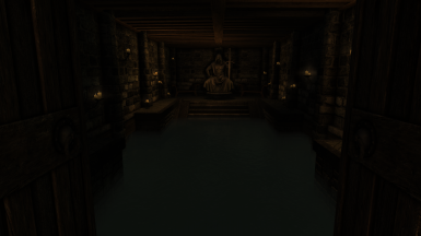 A small pool of water in the Meadhall's basement that's available to those who use bathing mods