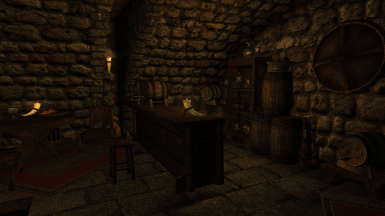 A minibar within the Mead Hall's basement