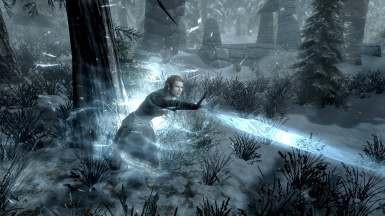 The Housecarl will cast frost magic when ranged