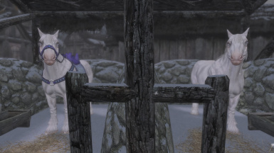 Horses with Slof's Unique Frost mod installed