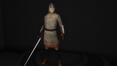 31 - Hauberk - Splinted Bracers and Greaves - Veiled Helmet - Longsword