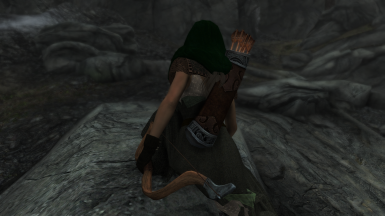 Wood Elf Archer in the woods - crouching movement