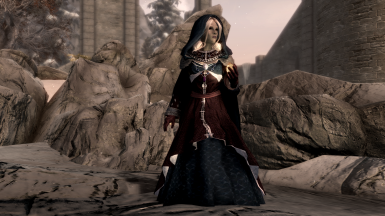Silver gown (purple and blue), on a dark elf mage