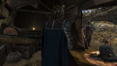 Khajiit Gown from the back with cloak (Silver)