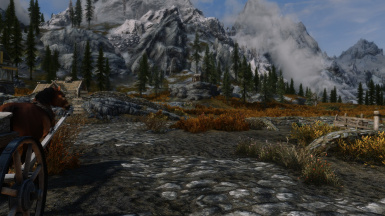 Standing at Whiterun Stables, looking at Dusk's Cabin.