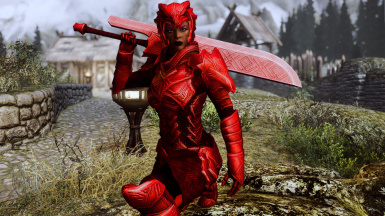 Scaled Ruby Flavor (female) - front view with greatsword -