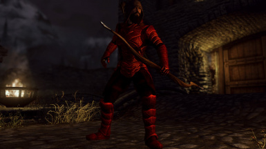 Scaled Ruby Flavor (male) - here without pauldrons, with torturer's hood, bow and arrows -