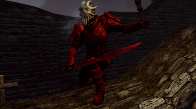 Scaled Ruby Flavor (male) - front view with pauldrons, cultist mask and sword -