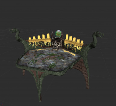 Green dragon and marble top enchanting table