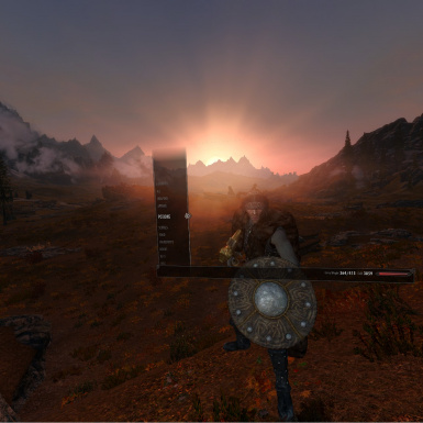 Checking my gear in the plains of Whiterun