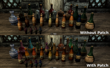 Before and After Patch (CACO and Bottles of Skyrim) (Rustic Clutter Textures are visible in top image)