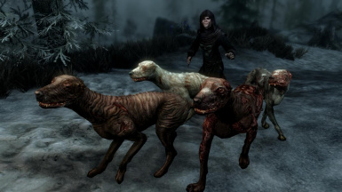 Zombie Dogs and Skinned Hounds- Mihail Monsters and Animals (SSE) (mihail immersive add-ons- shivering isles- witcher)