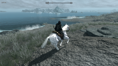Galloping along the clear coast