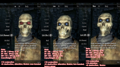 Playable Skeleton Races - Become a Lich (5 types - Orc Human