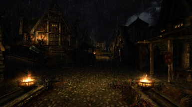 Whiterun Gates during a Rainy Night