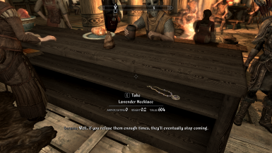 One free Lavender Menace Necklace in the Bannered Mare (Whiterun)