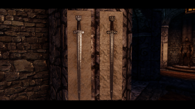 norse and gilded norse sword