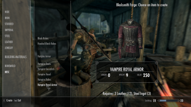 Craftable unarmored and armored vampire gear for mage vampires