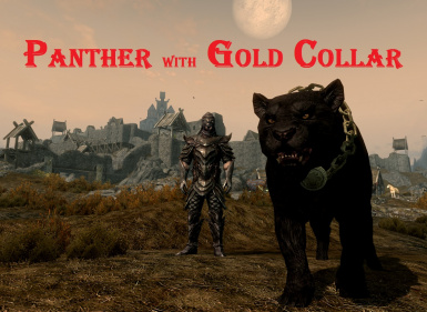 Panther with gold collar