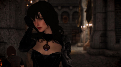 Thinking about something. Dialogue support for the Lustmord armor is added by this mod through an optional patch