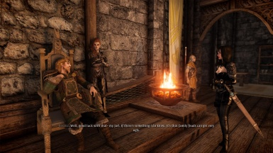 Talking to Jarl Balgruuf about the Battle-Born and Grey-Mane family feud.