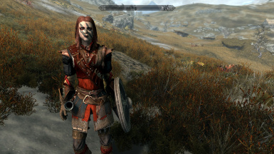 Aela wearing Crimson archer armour set and Wolf Shield