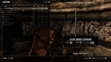 Noir's Craftable Silver Swords
