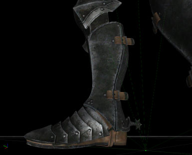 before - ebony boot and gauntlet leather color didn't match the armor's leather and was heavily compressed